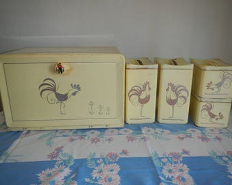 Mid-Century Country Lemon  Ransburg Rooster Bread Box (1) with Canister Set (8) / Kitchen