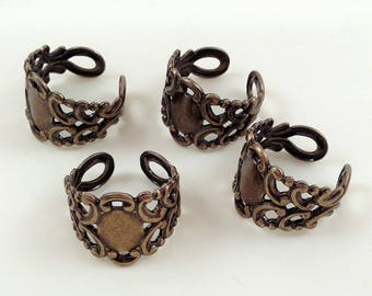 Brass Filigree Ring, Adjustable Ring, Bronze Ring, Filigree Ring, Bronze Filigree Ring, Ring Blank, 17mm x 20mm  - 4 pcs. (bz165)