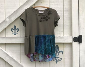 Hippie top, rustic M knit top, olive green, Embellished top, Upcycled clothing