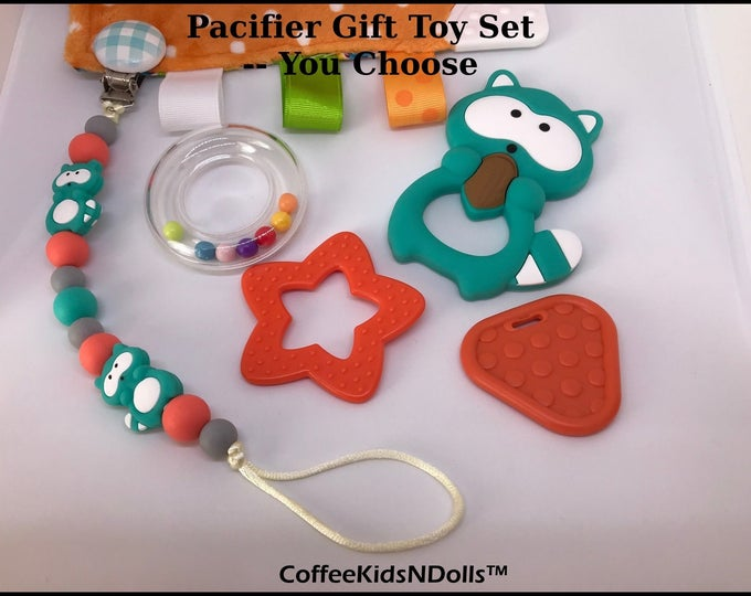 TURQUOISE Silicone Pacifier Clip & Toy // You Choose // Baby Toy Gift Set // Shower Gift //Stocking Stuffer // Silicone // Under 10 / Paci