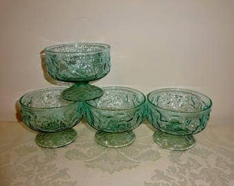 Vintage Aqua Anchor Hocking Lido Milano Footed Sherbet Cups Set of 4 Aquamarine