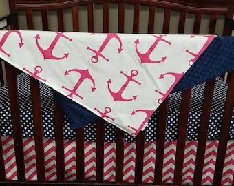 Crib Bedding Starter Set -  Nautical pink anchors, navy dots, and pink chevron