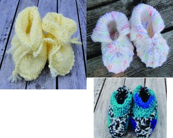 Baby booties knitted