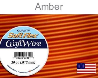 Supplies-20 Gauge Wire Round Non Tarnish Amber Craft Wire 10 Yards