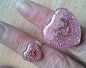 RESERVED for Jalleh - Orgone Energy Small Valentine Heart Ring with Pink Agate - Cocktail Ring - Statement Ring - Artisan Jewelry