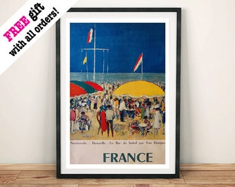 DEAUVILLE TRAVEL POSTER: Vintage France Cafe Art Print Wall Hanging