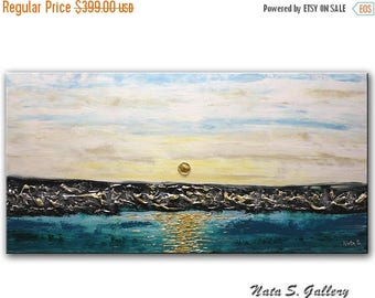 Summer SALE Seascape Painting, Abstract Acrylic Artwork, Original Textured Art, Palette Knife, Ocean Painting, Sunrise, Sky, Large Painting