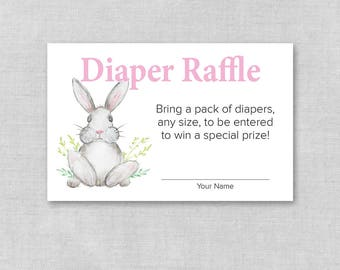 Diaper Raffle Baby Shower Card, Printable Diaper Raffle Ticket, Invitation Insert, Baby Girl Bunny, Pink Rabbit