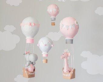 Pink and Gray Hot Air Balloon Baby Mobile, Hippo and Giraffe Nursery Decor, Travel Theme Nursery, i248