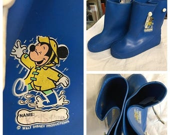 35% off Sale Childrens retro Mickey Mouse blue size 13 rain boots