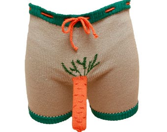 Funny Shorts Trousers, Unique men gift, Carrot pattern shorts, men boxer briefs novelty shorts novelty underwear, fun gift for him, men gift