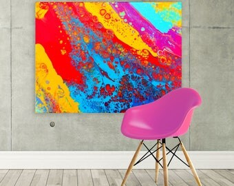 Large Canvas Print - Large Yellow Red Blue Pink Purple & Turquoise Canvas Print - Large Canvas Picture - Large Canvas Art 'Carnival'