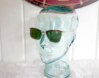 Vintage Rimless 1960s Green Lenses Gold Metal Frames Sunglasses New Old Dead Stock Bob Dylan French