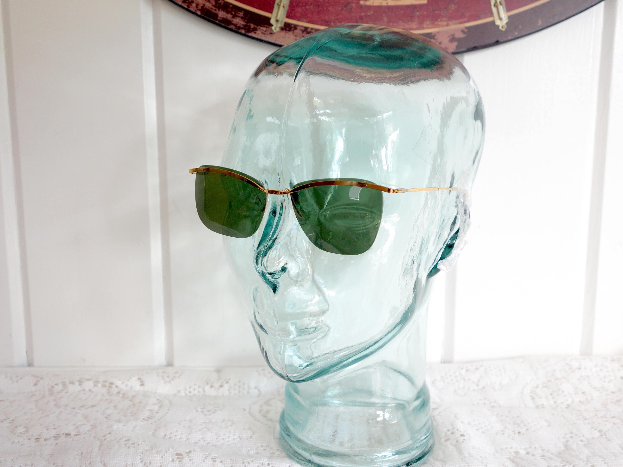 Vintage Rimless 1960s Green Lenses Gold Metal Frames Sunglasses New ...
