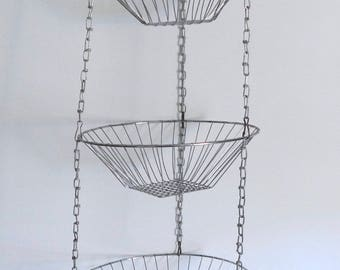 Vintage Collapsible Wire 3 Tier Basket Hanging Fruit Basket - Wire Planter Kitchen Storage Baskets - Floyd Jones Vintage