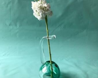 Vintage single flower vase crystal German 1970s Blue Green Clear Marbled Desk Vase