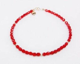 Ruby Bracelet Solid 14kt Gold Bracelet Red Crystal Bracelet 14k Gold Heart Bracelet Solid 14kt Gold Bracelet Gift For Her BuyAny3+Get1 Free