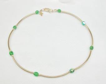 14k Gold Emerald Anklet Gold Cross Anklet Gold Ankle Bracelet Emerald Green Anklet Crystal Anklet Emerald 14k Gold Filled Anklet Buy3+1 Free