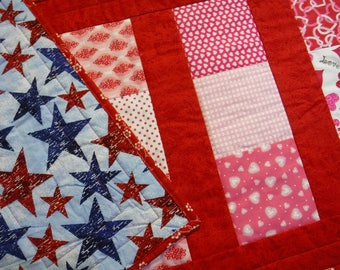 Reversible Holiday Table Runner, Valentine Table Runner, Patriotic Table Runner, Pink and Red Table Runner, Red and Blue Table Runner