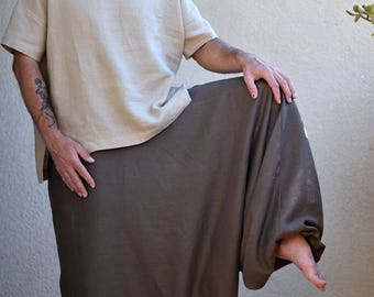 Pure Linen Harem Pants with Side Pockets, Washed Linen Pants, Woman, Man, Unisex, Regular, Tall, Plus size, Custom Made. Big Color Choice