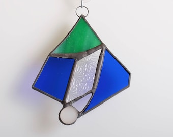 Green and blue abstract glass suncatcher