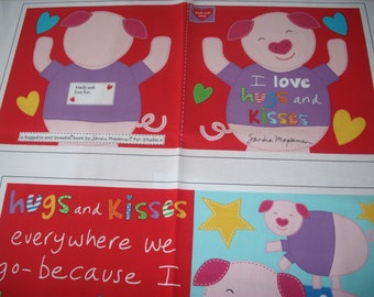 cloth storybook panel to make-I Love Hugs and Kisses
