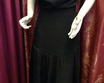 1930s Black Chiffon Gown with Lace Godets