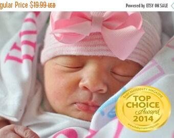 SALE 25% OFF boutique baby girl newborn hospital hat with bow, baby girl hat with bow, girl baby hat with bow, newborn hospital hat, baby gi