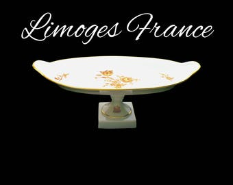 Antique LIMOGES France Porcelain Tray, White & Gold Pedestal Tray, Porcelain Serving Tray, Wedding Gift, Mothers Day Gift for Collector