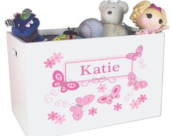 Personalized Open Toy Box with Pink Butterflies Design-ybin-300a