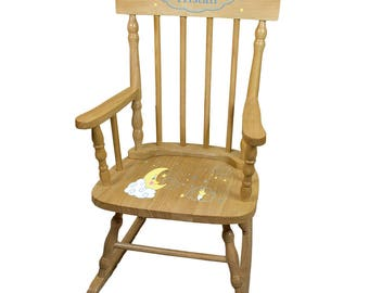 Personalized Natural Childrens Rocking Chair with Moon and Stars Design-spin-nat-243