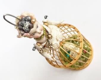 small birdcage girl ornament (3), birds nest art, santos garden sprite, assemblage art by Elizabeth Rosen