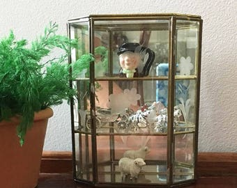 Vintage Small Glass and Brass Etched Curio Cabinet / Stands or Hangs