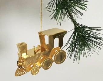 Brass Train Ornament / 3-D Brass Ornament /  Toy Train Christmas Ornament / Kitschy Christmas / Ornament Gift