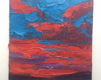 """Original 4"""" x 4"""" oil painting, sunset. realism fine art, small painting, oil on canvas, sky art, cloud painting"""
