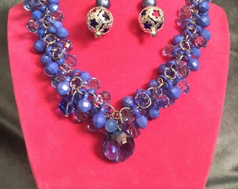 Blue Bells  Beaded Necklace Set