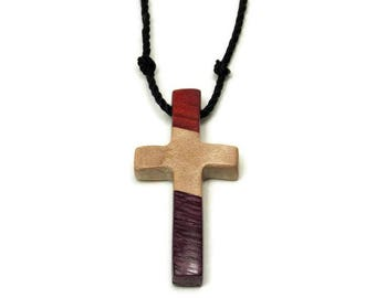 Mens Wooden Cross Necklace, Mens Jewelry Cross, Minimalist Cross Necklace, Cross Necklace Men, Purpleheart, Curly Maple, Red Heart Wood