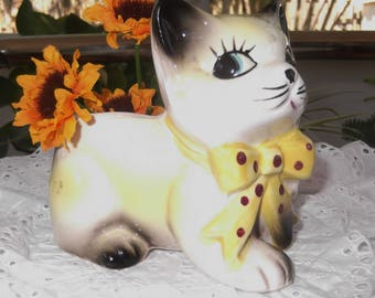 Vintage Ceramic Kitten Planter Yellow Kitty Cat Planter Hand Painted
