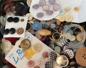 Old buttons - Lots of Buttons - mixed lot - craft supplies - Estate Sale Find -  almost 2 pounds - needs sorting