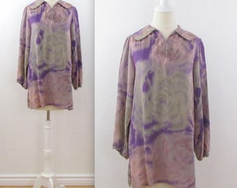 SALE Vintage 1970s Liliane Burty Tunic Blouse w/ Peter Pan Collar in Dusky Pink + Mauve in Large