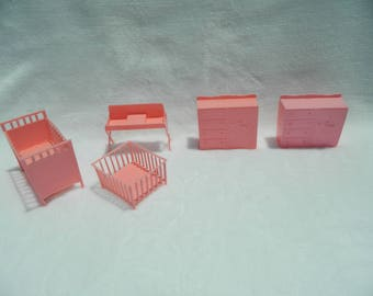 Vintage Plastic Miniature Doll House Furniture Pink Nursery