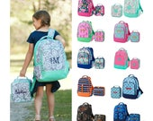 Monogram Backpack and Lunch Box Set  Personalized Girls and Boys Backpack, Kids School Bookbag, Embroidered Backpack, Monogrammed Backpack