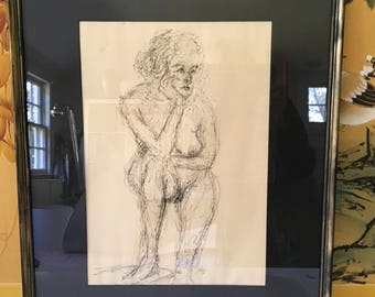 Vintage Female Nude Etching, Black Acid Free Mat, Signed and dated 1966