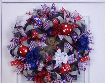 On Sale Patriotic Wreath, Mesh Wreath, Summer Wreath, 4th of July Wreath, Memorial Day Decor, Veteran's Day, Election Year