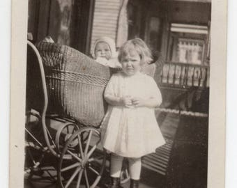 Edwardian Children Antique Snapshot Baby In Carriage And Toddler Photograph Victorian Fashion Photo Family Pictures