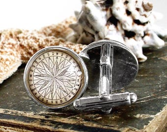 Compass Cufflinks / Cuff Links - Antique Nautical Print Cufflinks in 18mm with Glass in Silver - Pirate Jewelry