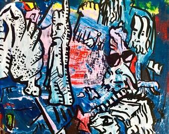 "3""x 3"" Pareidolia painting on Canvas Panel Board"
