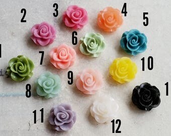 10 mm of Assorted Colour Rose Resin Flower Cabochons (.sg)(zzb)