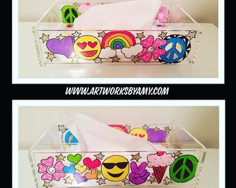Painted Tissue Box - Acrylic Lucite