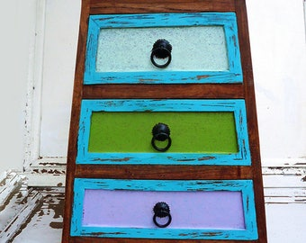 Upcycled Multi Drawer Storage Chest, Eclectic Vintage Shabby Chic Distressed Heavy & Sturdy Bohemian Farmhouse Style Furniture Home Decor.